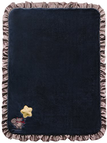 Twinkles of Joy Light Up and Musical Receiving Baby Blanket, Black Star on a String