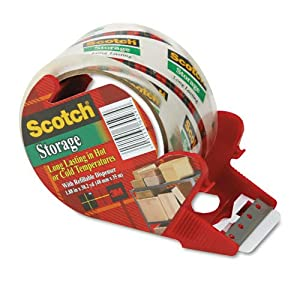 Scotch 3650 Mailing and Storage Tape with dispenser, Crystal Clear, 48mm x 35m MMM3651C