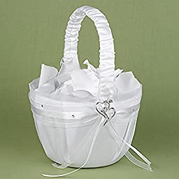 Double Hearts White Satin Flower Girl Basket With Rhinestone and Heart Adornments