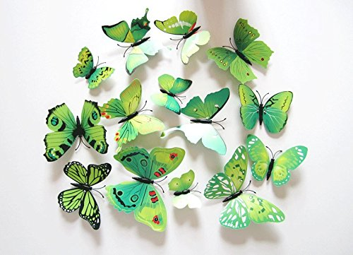 Clest F&H 3D Wall Butterfly 12pcs Coroful Wall Sticker Home Decoration Christmas Gift verde