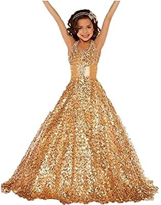 Aiduo Flower Girls' Halter Full Sequins Special Occasion Pageant Dress