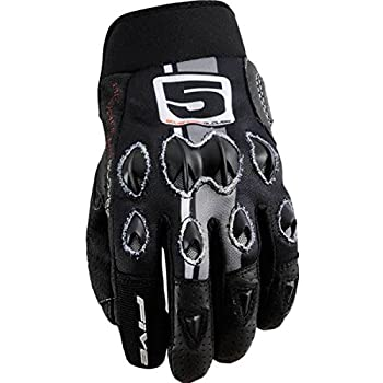 Five Stunt Replica Vintage Adult Street Motorcycle Gloves - Black/Grey / Medium
