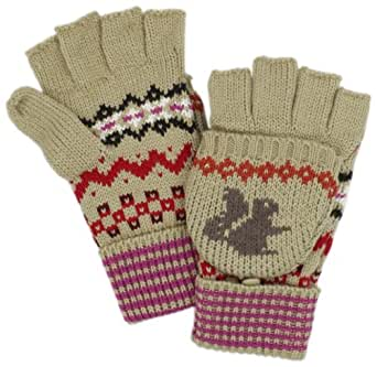 Dearfoams Women's Jacquard Flip Glove, Camel Squirrel One Size