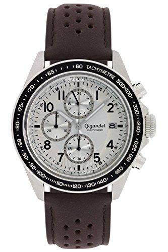 Gigandet Racetrack Orologio da Uomo Quarzo Cronografo Analogico Data Marrone Argento G24-008