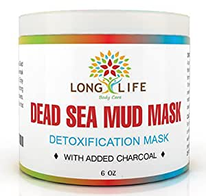 Long Life Body Care Premium Spa Quality Dead Sea Mud Mask, Detoxification Facial Mask, 6oz, With Added Charcoal For Extra Help To Pull Out Dirt And Toxins, Absorbs Excess Oil, Leaving Skin Clean