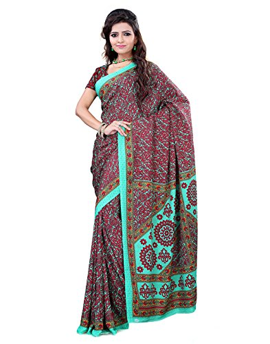 Surat Tex Red & Green Crepe Printed Sarees With Blouse Piece