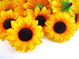 "(24) Silk Yellow Sunflowers sun Flower Heads , Gerber Daisies - 1.5"" - Artificial Flowers Heads Fabric Floral Supplies Wholesale Lot for Wedding Flowers Accessories Make Bridal Hair Clips Headbands Dress"