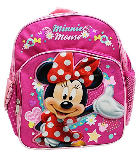 Small Size Pink Minnie Mouse in Red Dress Kids Backpack