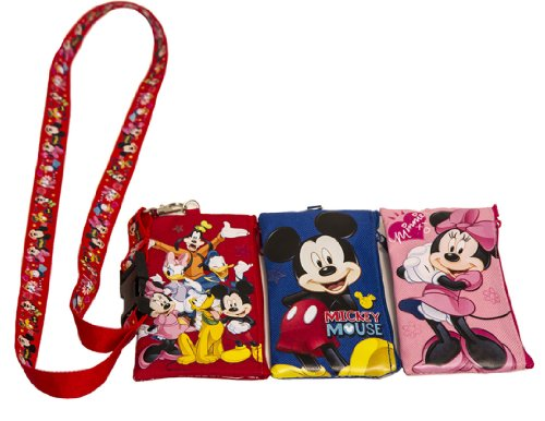 1-x-disney-set-of-3-mickey-and-friends-lanyards-with-detachable-coin-purse-by-unknown