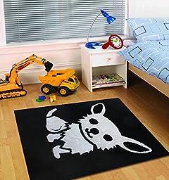 ~4 ft. x 6 ft. Kid\'s Rug Black with Dog Logo Design, On Sale!