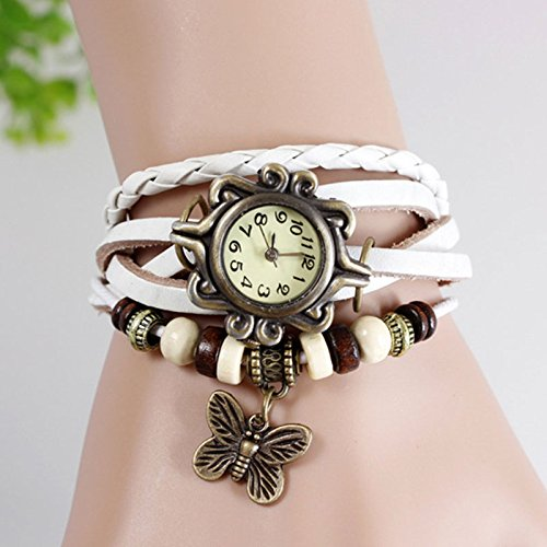 Mo2Mo@Classic Elegant Brown Leather Strap Butterfly Roma Number Dial Quartz Woman Ladies Watch Bracelet (White)