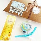 Caja con Crema WELEDA y Piruleta de Calcetines en Algod�n | Baby Shower Gift Idea | Tonos Azules | Para Ni�os
