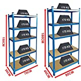 Home Discount 5 Tier Layer Shelf Storage Shelving Rack Heavy Duty Kitchen Garage Racking Unit 875 Kgs Capacity, Large, Blue