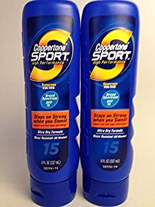 Coppertone Sport High Performance Sunscreen Lotion, 15 SPF, Ultra Dry Formula, 8-Ounce Bottles (2 Pack)