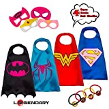 LAEGENDARY Superhero Costumes for Kids - 4 Capes and Masks - Glow Wonder Woman