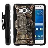 Galaxy Grand Prime Case, Galaxy Grand Prime Holster, Two Layer Hybrid Armor Hard Cover with Built in Kickstand for Samsung Galaxy Grand Prime SM-G530H, SM-G530F (Cricket) from MINITURTLE | Includes Screen Protector - Fallen Leaves Camouflage