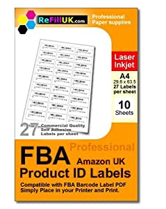 10 sheets A4 FBA Barcode labels. 270 labels. 27 per sheet Self-Adhesive Labels, matt paper, 63.5 x 29.6 mm for use with PDF Barcode files produced by Amazon Fulfillment services print product labels