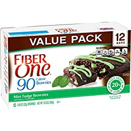 Fiber One 90 Calorie Soft-Baked Bars Mint Fudge Brownie, 12 Count, 6 Pack