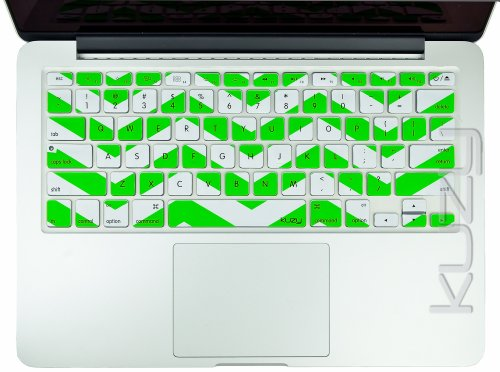 Kuzy - Green Chevron Zig-Zag Keyboard Cover for MacBook Pro 13
