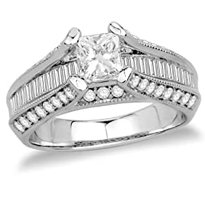14k White Gold Diamond Engagement Ring with Channel-Set Baguettes (3/4 ct Center 1 3/4 cttw, G-H Color, SI2-I1 Clarity), Size 7