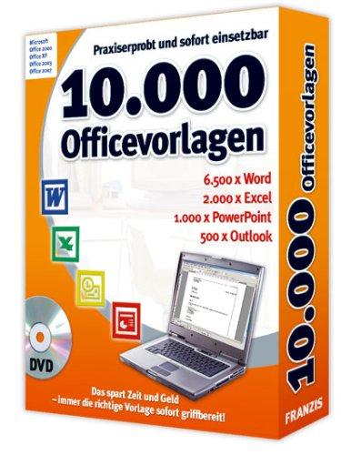 10.000 Office Vorlagen, DVD-ROM Praxiserprobt und sofort einsetzbar. 6.500 x Word, 2.000 x Excel, 1.000 x PowerPoint, 500 x Outlook. Für Windows 98SE/ME/XP/Vista u. Office 2000/XP/2003/2007