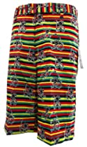 Shorts Solid Bone Rasta Skeleton 95% Poly 5% Spandex Adult (32)