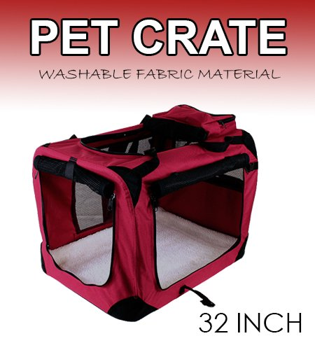 New Large Dog Pet Puppy Portable Foldable Soft Crate Playpen Kennel House - Red front-933308