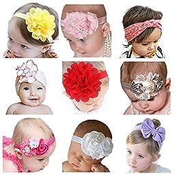 Newborn Headbands SWEETBB Baby Girl Headbands with Cute Flower - 9 Pack