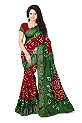 Stylish Maroon and Green Bandhani Saree