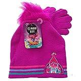 DreamWorks Trolls Faux Troll Hair Knit Beanie Hat and Glove 2 piece Girls Set