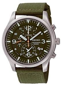 Stainless Steel Case Chronograph Green Dial Green Nylon Strap