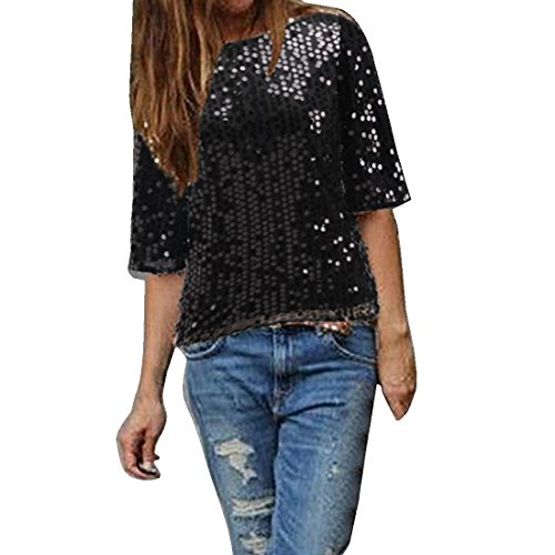 Bellezza Donna T-shirt Camicia Bling Lustrino Maniche 1/2 Maglietta Ragazza Tops Estate