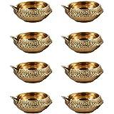 Hashcart (Set Of 50) Handmade Indian Puja Brass Oil Lamp - Diya Lamp Engraved Design Dia - 2.5 Inch