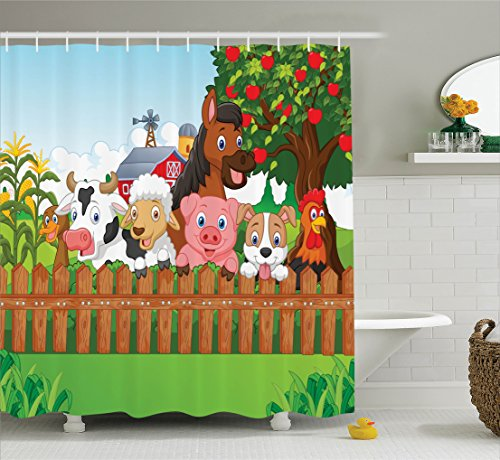 Ambesonne Cartoon Decor Collection, Cute Farm Animals on the Fence Dog Cow Horse for Kids Decor, Bathroom Shower Curtain Set with Hooks, Multi