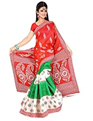 Shivam Sarees Bhagalpuri Silk Red Abstract Printed Saree