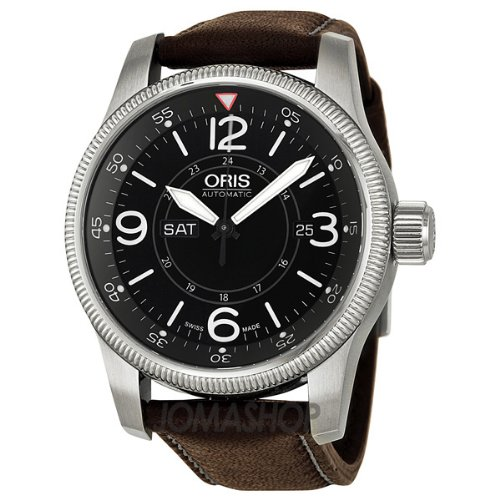 Oris Big Crown Timer Black Dial Brown Leather Mens Watch 735-7660-4064LS