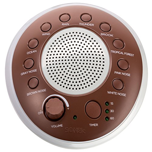 SONEic - Sleep, Relax and Focus Sound Machine. 10 Soothing White Noise and Natural Sound Tracks, with Timer Option. Crystal Clear Quality Sound Speaker & Headphone Jack. USB or Battery Powered - Brown