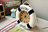 EUBEST New Welcome Aboard Life Ring Buoy Rope Home Decor Wall Clock Style 1
