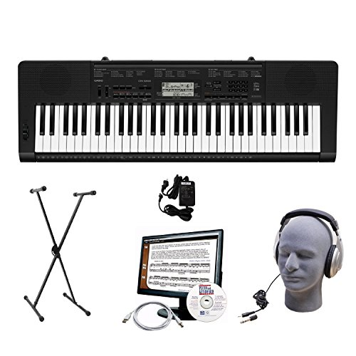 Casio Ctk-3200 61-Key Portable Premium Keyboard Package With Headphones, Stand, Power Supply, 6-Feet Usb Cable And Emedia Instructional Software