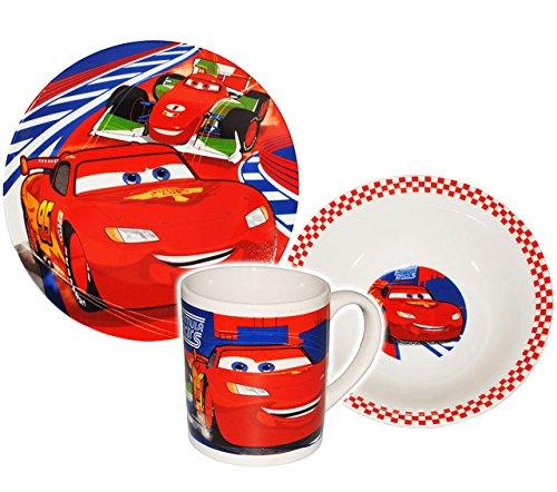 3-tlg-Geschirrset-Disney-Cars-Lightning-McQueen-Auto-Porzellan-Keramik-Trinktasse-Teller-Mslischale-Kindergeschirr-Frhstcksset-fr-Kinder-Jungen-Egeschirr-Frhstcksgeschirr-Geschirr-Fahrzeuge-Auto-Fahrz