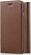 [Genuine Leather] [Apple New iPhone 6 (4.7) Wallet Case]- iXCC ® [Stand Feature] [Classic Vintage Elegant Look] Premium Ultra Slim with Stand Flip Cover , Protective Soft Geniune Leather [Book Style] Folio Wallet Case - for Apple iPhone 6 4.7 Inch Late 2014 Model [Brown]