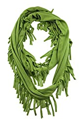 WishCart Womens Infinity Scarves for Grils Circle Neck Wrap ,8 Solid Colors With Tassels -Green