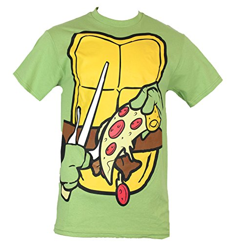 Teenage Mutant Ninja Turtles Mens T-Shirt - TMNT Costume Front with Pizza Slice