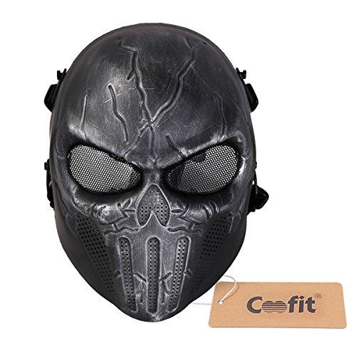 Coofit® The Punisher Airsoft Paintball BB pistola di fronte pieno della mascherina protettiva di Halloween Mask Occhiali di sicurezza