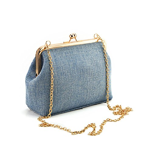 Hoxis Classical Kiss Lock Faux Leather Clutch with Chain Starp Womens Shoulder Bag Purse (Denim)