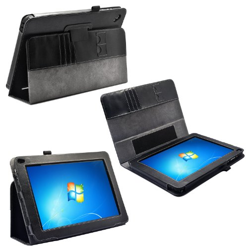 Georgic Slimbook Leather Case for the Dell Latitude 10.1 LED Net Tablet(Included 2 Micro SD Liable act Slots) (Business Card Holder is Additional) (3 Year Manufacturer Warranty From Lyrical)