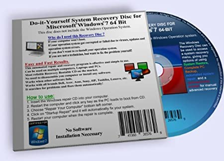 Recovery Boot Disc for Windows 7 System 64 BIT CD (Disk Comparable with Starter, Home Premium, Professional and Ultimate)