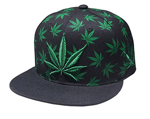 Marijuana-KUSH-Pot-Leaf-Weed-Cannabis-Embroidered-Flat-Bill-Snapback
