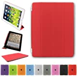 Besdata Ultra Thin Magnetic Smart Cover & Back Case For Apple iPad 2 / iPad 3 / iPad 4 + Screen Protector + Cleaning Cloth + Stylus - Red - PT2603
