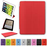 BESDATA Ultra Thin Magnetic Smart Cover & Clear Back Case for Apple iPad + Screen Protector + Stylus + Cleaning Cloth (Red, iPad 2/3/4)